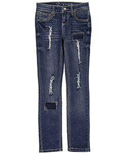 "Revolution by Revolt Big Girls' ""Frayed & Patched"" Skinny Jeans (Sizes 7 – 16) - CookiesKids.com"