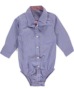 "Frenchie Mini Couture Baby Boys' ""Shadow-Stripe Button-Down"" L/S Bodysuit - CookiesKids.com"