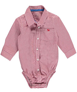 "Frenchie Mini Couture Baby Boys' ""Mini-Check Button-Down"" L/S Bodysuit - CookiesKids.com"