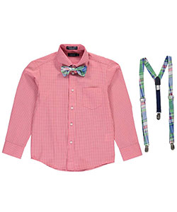 "Izod Big Boys' ""Gingham & Chambray"" Dress Shirt & Accessories Set (Sizes 8 – 20) - CookiesKids.com"