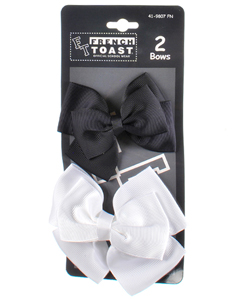 "French Toast ""Double Bow"" 2-Pack Ribbon Barrettes - CookiesKids.com"