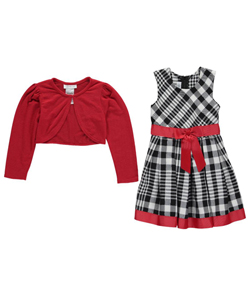 "Bonnie Jean Little Girls' Toddler ""Ribbon Plaid"" Dress with Shrug (Sizes 2T – 4T) - CookiesKids.com"