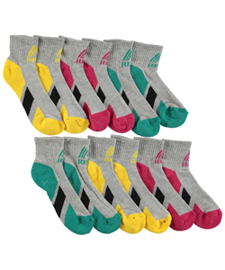 "RBX ""Contrast Sole"" 6-Pack Quarter Crew Socks (Sizes 4 – 11) - CookiesKids.com"