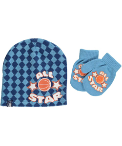 "Rugged Bear ""All Star Checker"" Beanie & Mittens Set (Toddler One Size) - CookiesKids.com"