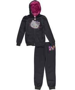 "Hello Kitty Big Girls' ""Rainbow Bow"" 2-Piece Fleece Sweatsuit (Sizes 7 – 16) - CookiesKids.com"