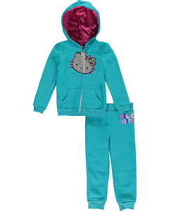 "Hello Kitty Little Girls' Toddler ""Fleecy Feline"" 2-Piece Fleece Sweatsuit (Sizes 2T – 4T) - CookiesKids.com"