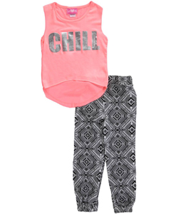 "Girls Pink Little Girls' ""Chill"" 2-Piece Outfit (Sizes 4 – 6X) - CookiesKids.com"