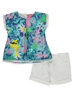 "Girls Pink Little Girls' ""Lakeside Watercolor"" 2-Piece Outfit (Sizes 4 – 6X) - CookiesKids.com"