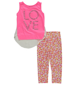 "Girls Luv Pink Little Girls' ""Beaded Love – Floral Leggings"" 2-Piece Outfit (Sizes 4 – 6X) - CookiesKids.com"