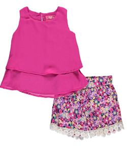 "Girls Luv Pink Little Girls' ""Blossom Burst"" 2-Piece Outfit (Sizes 4 – 6X) - CookiesKids.com"