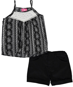 "Girls Luv Pink Big Girls' ""Floral Paisley"" 2-Piece Outfit (Sizes 7 – 16) - CookiesKids.com"