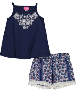 "Girls Luv Pink Big Girls' ""Paisley Twirl"" 2-Piece Outfit (Sizes 7 – 16) - CookiesKids.com"