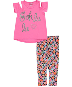 "Girls Luv Pink Big Girls' ""Rhinestone Heart"" 2-Piece Outfit (Sizes 7 – 16) - CookiesKids.com"