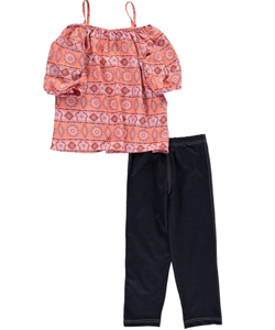 "Girls Luv Pink Big Girls' ""Patterned Flow"" 2-Piece Outfit (Sizes 7 – 16) - CookiesKids.com"