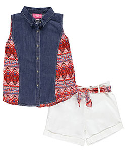 "Girls Luv Pink Big Girls' ""Chiffon Paneled"" 2-Piece Outfit (Sizes 7 – 16) - CookiesKids.com"