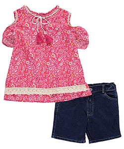 "Girls Luv Pink Big Girls' ""Crocheted Cold Shoulder"" 2-Piece Outfit (Sizes 7 – 16) - CookiesKids.com"