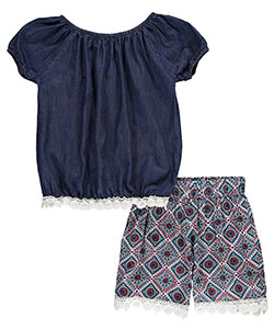 "Girls Luv Pink Big Girls' ""Flowered Trim"" 2-Piece Outfit (Sizes 7 – 16) - CookiesKids.com"