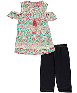 "Girls Luv Pink Big Girls' ""Boho Cold Shoulder"" 2-Piece Outfit (Sizes 7 – 16) - CookiesKids.com"