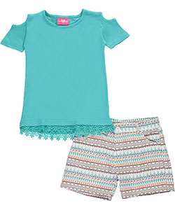 "Girls Luv Pink Big Girls' ""Lace Breeze"" 2-Piece Outfit (Sizes 7 – 16) - CookiesKids.com"