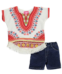 "Girls Luv Pink Little Girls' ""Dashiki Fringe"" 2-Piece Outfit (Sizes 4 – 6X) - CookiesKids.com"
