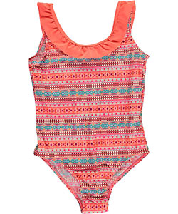 "Surf Zone Little Girls' ""Diamond Flutter"" 1-Piece Swimsuit (Sizes 4 – 6X) - CookiesKids.com"