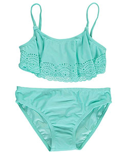 "Surf Zone Little Girls' ""Scalloped Cut-Outs"" 2-Piece Bikini (Sizes 4 – 6X) - CookiesKids.com"