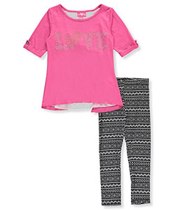 "Girls Luv Pink Big Girls' ""Banded Burnout"" 2-Piece Outfit (Sizes 7 – 16) - CookiesKids.com"
