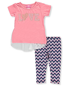 "Girls Luv Pink Little Girls' Toddler ""Love Wave"" 2-Piece Outfit (Sizes 2T – 4T) - CookiesKids.com"