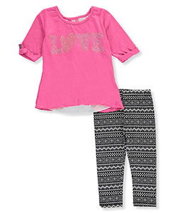 "Girls Luv Pink Little Girls' Toddler ""Banded Burnout"" 2-Piece Outfit (Sizes 2T – 4T) - CookiesKids.com"