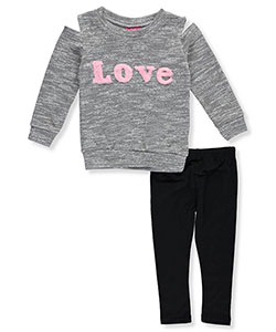 "Girls Luv Pink Little Girls' Toddler ""Fuzzy Love"" 2-Piece Outfit (Sizes 2T – 4T) - CookiesKids.com"