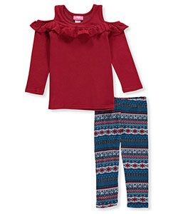 "Girls Luv Pink Little Girls' Toddler ""Ruffled Cold-Shoulder"" 2-Piece Outfit (Sizes 2T – 4T) - CookiesKids.com"