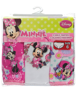 "Minnie Mouse Little Girls' ""Bow Adjusted"" 3-Pack Panties (Sizes 4 – 6X) - CookiesKids.com"