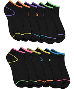 "XOXO Girls' ""Neon Outline"" 6-Pack Low-Cut Socks (Sizes 6 – 8) - CookiesKids.com"