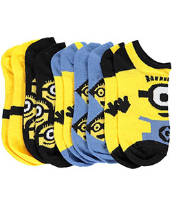 "Minions Boys' ""Minion Close-Up"" 5-Pack Ankle Socks (Sizes 6 – 8.5) - CookiesKids.com"