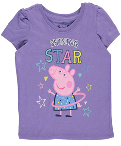 "Peppa Pig Little Girls' Toddler ""Shining Star"" T-Shirt (Sizes 2T – 4T) - CookiesKids.com"