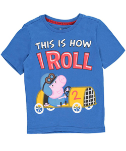"Peppa Pig Little Boys' Toddler ""This Is How I Roll"" T-Shirt (Sizes 2T – 4T) - CookiesKids.com"