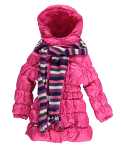 "Pink Platinum Little Girls' Toddler ""Shining Snow"" Insulated Parka with Scarf (Sizes 2T – 4T) - CookiesKids.com"