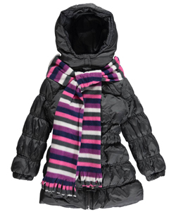 "Pink Platinum Little Girls' ""Shining Snow"" Insulated Parka with Scarf (Sizes 4 – 6X) - CookiesKids.com"