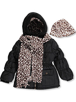 "Pink Platinum Little Girls' ""Leopard Equip"" Insulated Parka with Accessories (Sizes 4 – 6X) - CookiesKids.com"