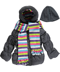 "Pink Platinum Little Girls' ""Button & Stripe"" Insulated Parka with Scarf (Sizes 4 – 6X) - CookiesKids.com"