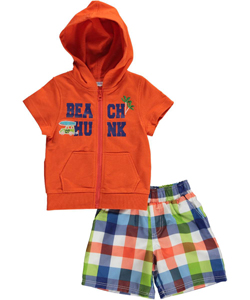 "Wippette Baby Boys' ""Beach Hunk"" S/S Hoodie & Swim Trunks - CookiesKids.com"