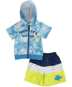 "Wippette Baby Boys' ""Deep Sea Diver"" S/S Hoodie & Swim Trunks - CookiesKids.com"