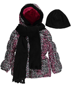 "Pink Platinum Little Girls' Toddler ""Leopard Splash"" Insulated Parka with Accessories (Sizes 2T – 4T - CookiesKids.com"