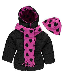 "Pink Platinum Little Girls' Toddler ""Heartfelt"" Insulated Jacket with Accessories (Sizes 2T – 4T) - CookiesKids.com"