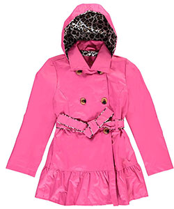 "Pink Platinum Big Girls' ""Feline Trimmed"" Belted Trench Coat (Sizes 7 – 16) - CookiesKids.com"