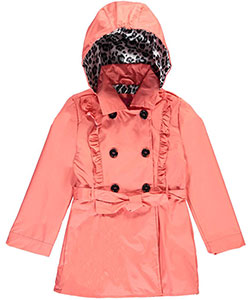 "Pink Platinum Big Girls' ""Ruffled Lines"" Belted Trench Coat (Sizes 7 – 16) - CookiesKids.com"