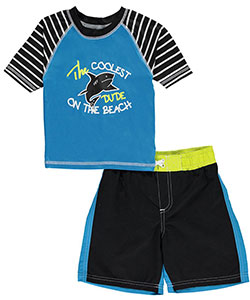 "iXtreme Little Boys' ""Coolest Dude"" 2-Piece Swim Set (Sizes 4 – 7) - CookiesKids.com"