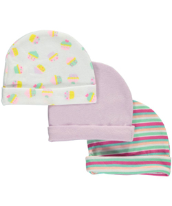 "Honey Baby Baby Girls' ""Cupcake Medley"" 3-Pack Caps - CookiesKids.com"