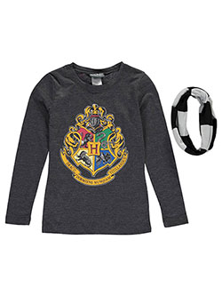 "Harry Potter Big Girls' ""Hogwarts Crest"" L/S Top with Scarf (Sizes 7 – 16) - CookiesKids.com"