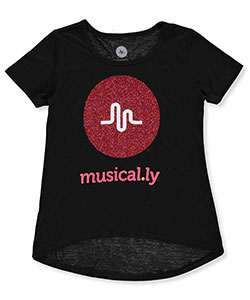"Musical.ly Big Girls' ""Treble Glitter"" T-Shirt (Sizes 7 – 16) - CookiesKids.com"